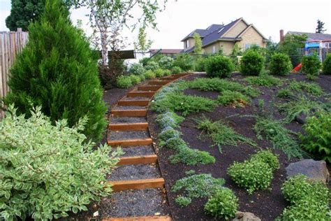 garden ideas for sloping backyards side yard landscaping ideas steep hillside sloped lot