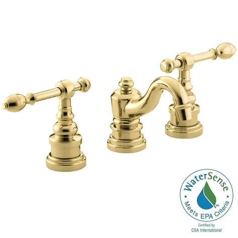 polished brass bathroom fixtures kohler iv georges brass 8 in widespread 2 handle low arc