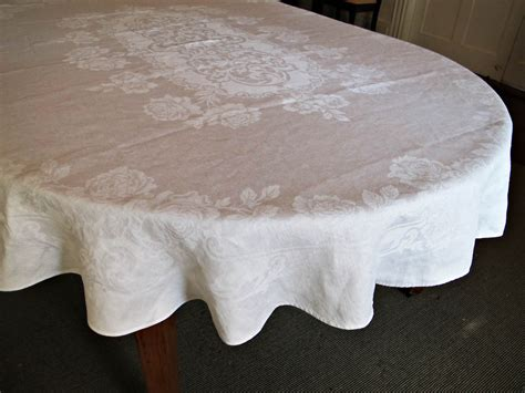 oval oblong banquet tablecloth vintage damask by bettyandbabs