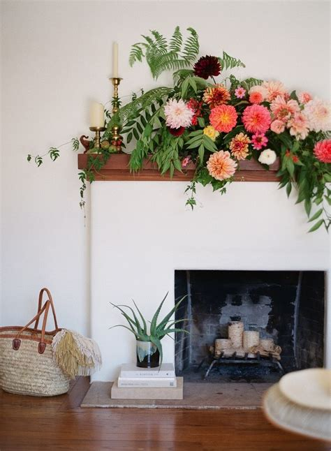 fireplace flowers home design