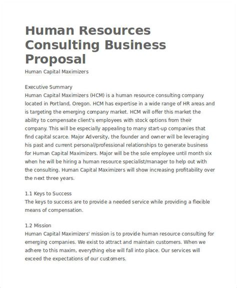 hr consulting template business proposals typical approach business