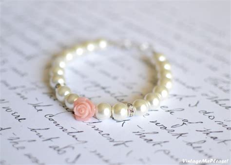 Childrens Jewelry Ivory Pearl Bracelet White Flower  Gift Infant Jewelry Baby  Pearl