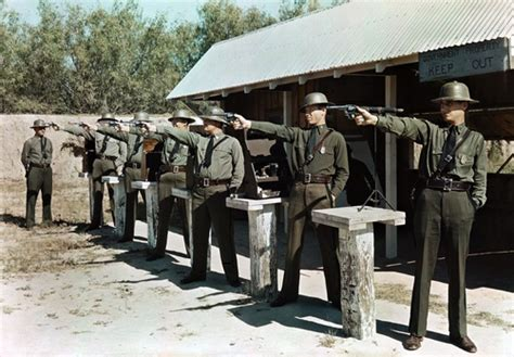1920 1930s a pistol team of the border patrol practices their shooting laredo