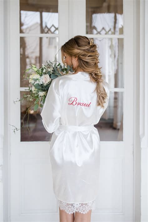 braut kimono braut bride getting ready morgenmantel kimono satin wei 223