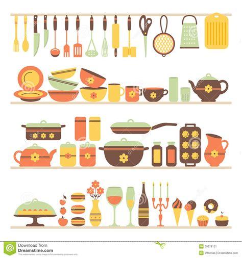 Sketch To Design A 3d Kitchen set of kitchen utensils and food stock illustration