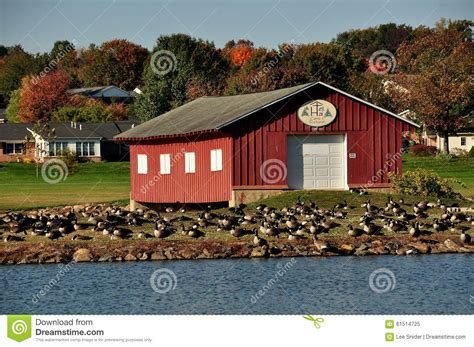 boat house canada lancaster county pa red boathouse canada geese editorial image