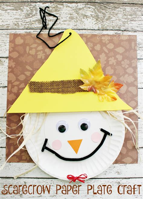 Fall Paper Plate Crafts - scarecrow paper plate craft for thanksgiving