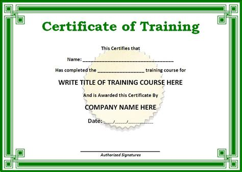 Training Certificate Example   Free Word's Templates