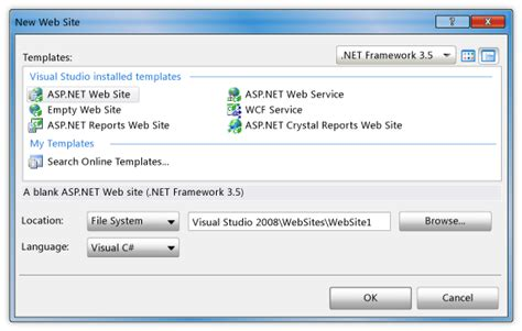 templates for asp net web pages walkthrough creating a basic web page in visual web developer