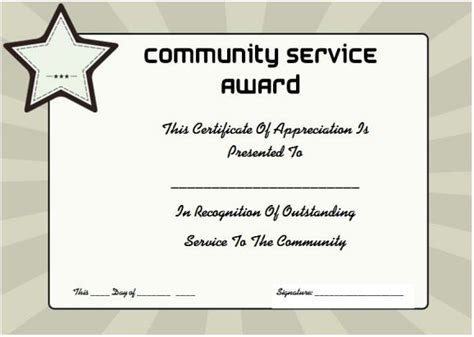 community service certificate template community service certificate of appreciation http