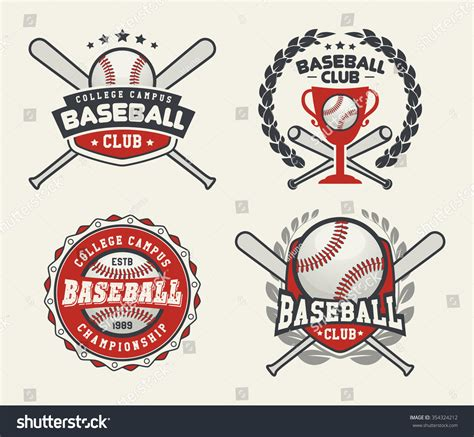 baseball logo template set sport baseball badge logo templates stock vector