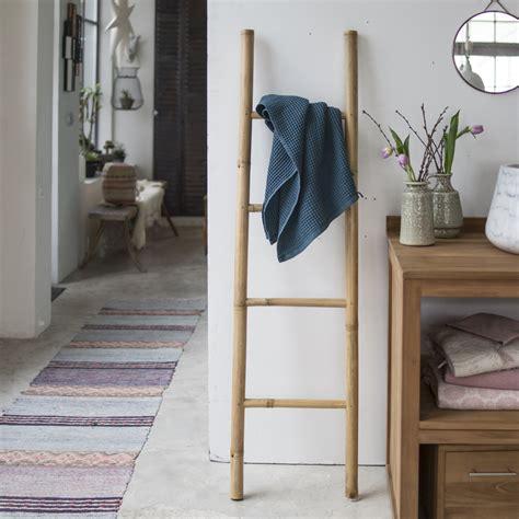 echelle porte serviette en bambou pour salle de bain