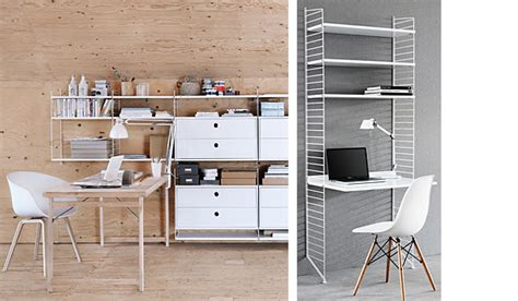 light weight yet stable shelving systems by string furniture string shelving system as work space by nils strinning