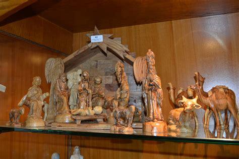 carved wood nativity set