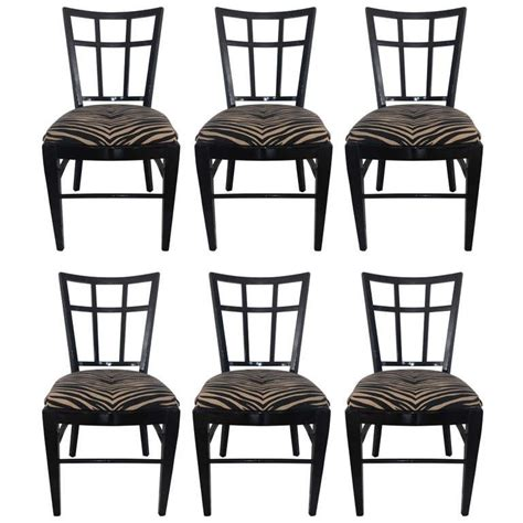 Black Lacquer Dining Room Chairs by Cafe Carlyle Set Of Six Black Lacquer Dining Chairs At 1stdibs