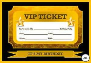 blank vip gold amp black ticket birthday party invitations