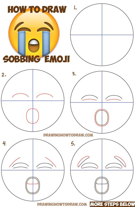steps on how to draw doodle how to draw sobbing emoji with easy steps