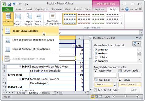 tutorial excel subtotal ms excel 2010 remove subtotals on pivot table rows