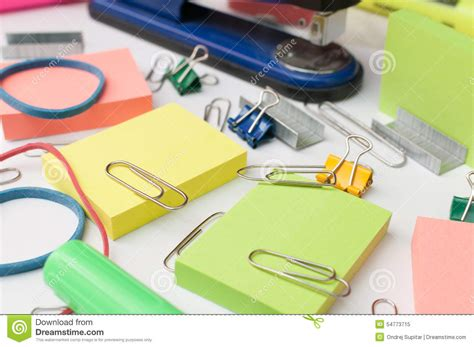 Used Office Supplies by Office Supplies Stock Photo Image 54773715