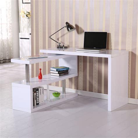 weisser schreibtisch new homcom foldable rotating office desk shelf combo