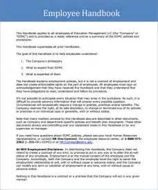 Employment Handbook Template by Sle Employee Handbook 9 Documents In Pdf