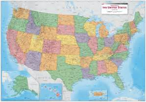 usa political wall map maps