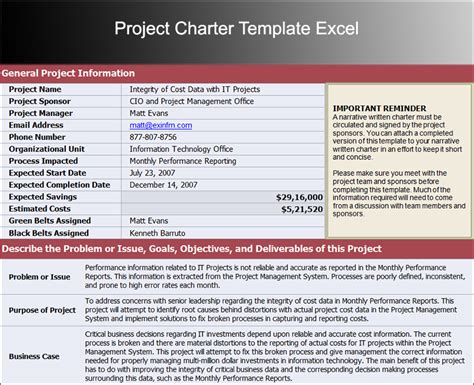 project management project charter template project charter template excel
