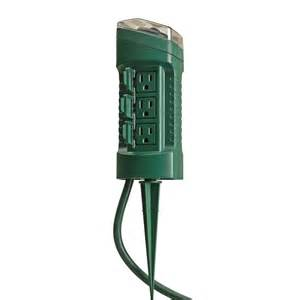 landscape light timer woods outdoor 6 outlet yard stake with photocell light