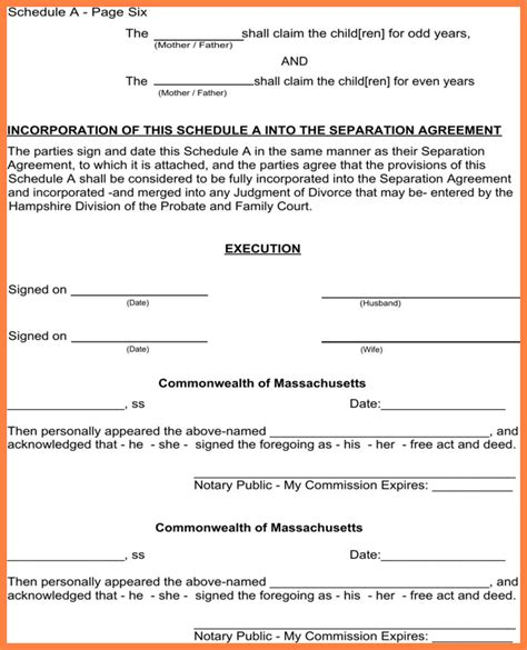 Notarized Divorce Letter 6 Notarized Separation Agreement Massachusetts Purchase Agreement