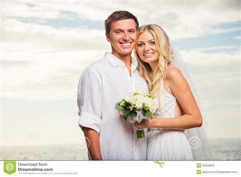 Just For Couples Just Married On At Sunset Stock Photo Image
