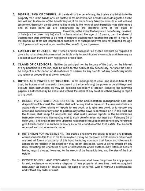 trust agreement template free trust agreement form printable real estate forms