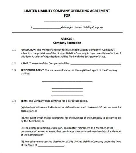 operating agreement template 8 free sles exles
