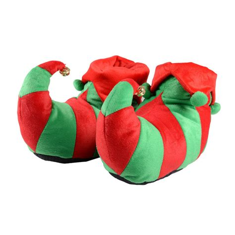 adults red green elf novelty christmas slippers with non