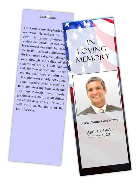 Memory Cards Funeral Template by Funeral Program Templates Memorial Bookmark Patriotic