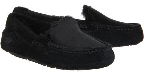 black slippers ugg ansley slippers in black lyst