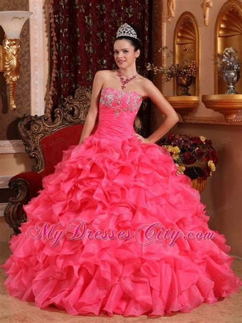 Mixco Dress pink organza sweet 15 dresses with beading and