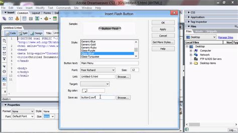 tutorial dreamweaver cs5 adobe dreamweaver cs3 tutorial quot make a flash button for