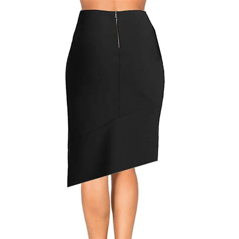 black and white asymmetrical pencil skirt elizabeth s