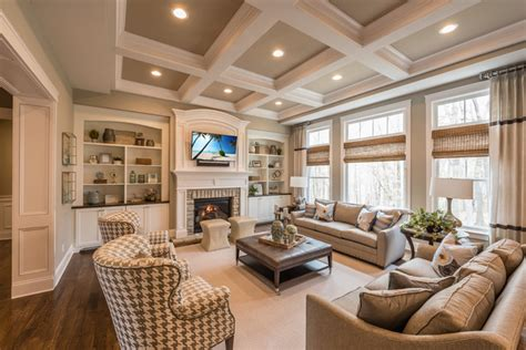 traditional high ceiling living room design ideas new american classic