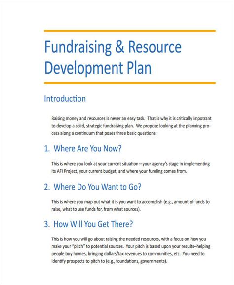 fundraising strategic plan template fundraising development plan template non profit