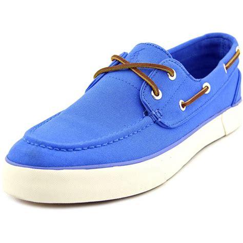 polo ralph sander canvas blue boat shoe slip ons
