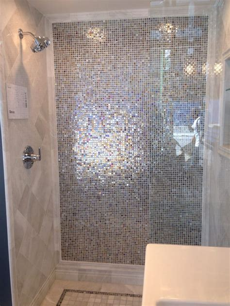Bathroom Remodel Ideas 2014 shower with iridescent glass tiles and marble yelp