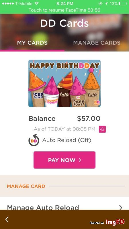 Send Dunkin Donuts Gift Card - dunkin donuts gift card 57 balance image on imged