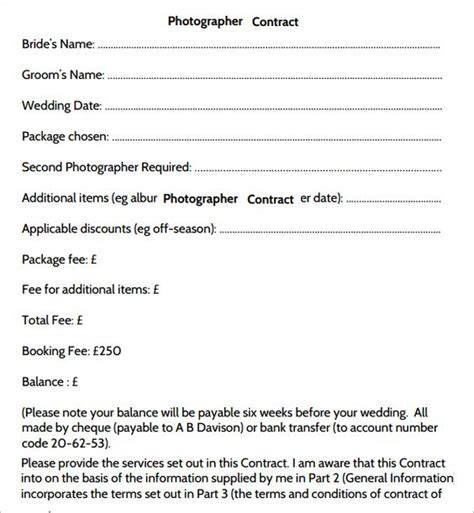 photography service agreement template photography contract 7 free pdf sle