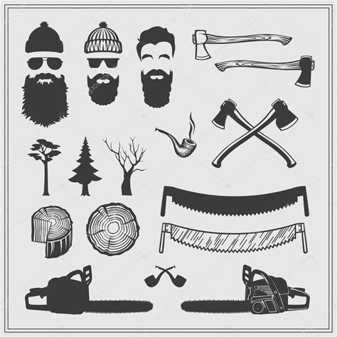 lumberjack characters with tools and attributes set
