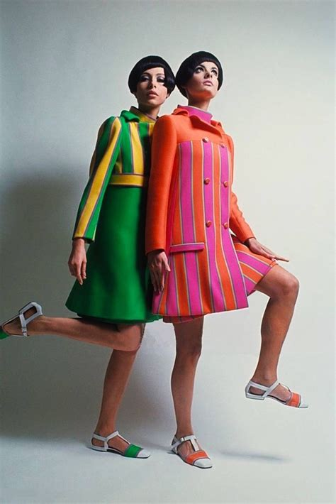 Dress Model Style Impor Yellow Purple Pink sixties two models stand together wearing fashions by