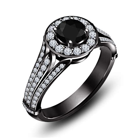 vintage black white cz beautiful handmade engagement