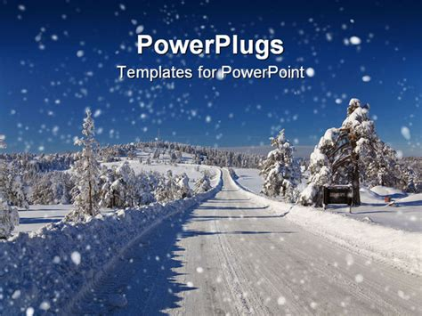 snow powerpoint template powerpoint template winter snow covered road and trees