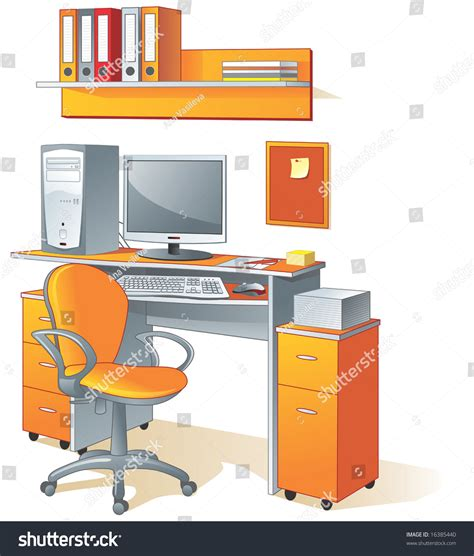 desk computer chair files office furniture and