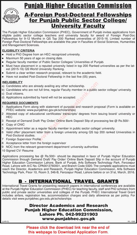 Hec Application Deadline Mba Time And Date by Punjab Higher Education Commission Foreign Post Doctoral